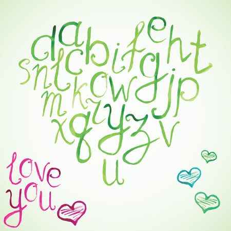 hand brushed: Hand drawn watercolor font, vector illustration of hand brushed Watercolor calligraphic letters in shape of heart.