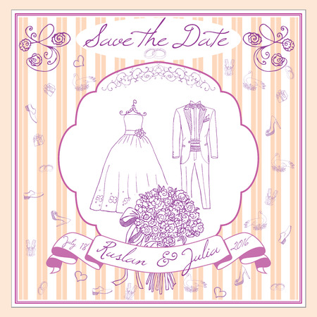 champaign: Save the datecard template with Hand drawn wedding elements. flowers bride dress and tuxedo suit, glasses for champaign and festive attributes. Drawing doodle collection. Illustration
