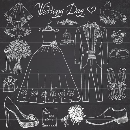 anillos de boda: Elementos de día de la boda. Dibujado a mano conjunto con vestido de flores vela novia y el traje de smoking, zapatos, gafas de champagne y atributos festivas. Dibujo colección garabato, en el fondo pizarra.