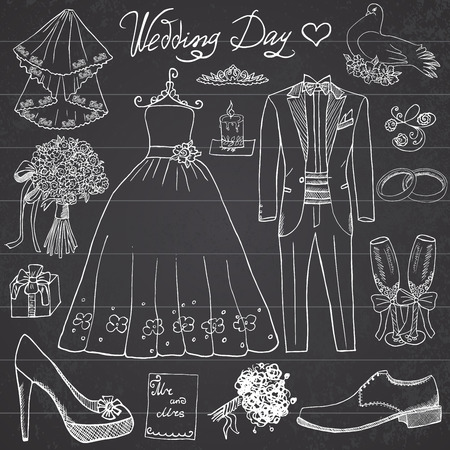 vintage dress: Wedding day elements. Hand drawn set with flowers candle bride dress and tuxedo suit, shoes, glasses for champaign and festive attributes. Drawing doodle collection, on chalkboard background.