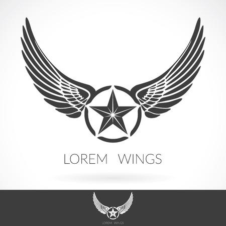 ali angelo: Ala astratto Modello di marchio con la stella in etichetta mezzo distintivo, icona emblema. Vettoriali
