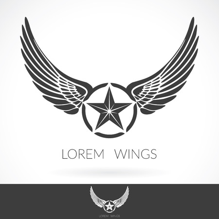 wings logos: Wing abstract Logo template with star in the middle badge label,  emblem icon.