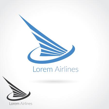 Flügel abstract Logo-Vorlage für Flugunternehmen, Luftschifffahrt, Fluglinien Logo oder Emblem.