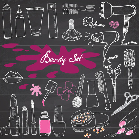cosmetic beauty: Hand drawn collection of make up, cosmetics and beauty items set, with hairbrushes, dryers, lipstick and nails  illustration on chalkboard. Illustration