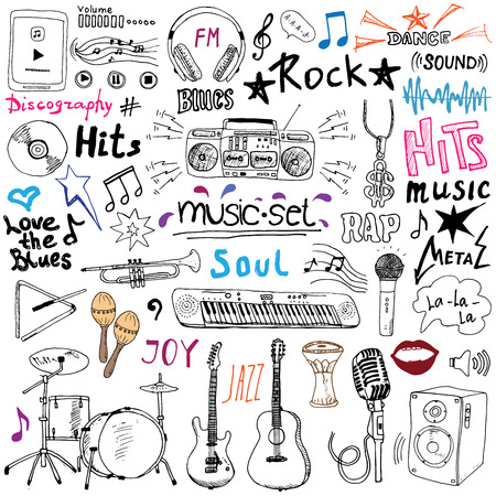 Music items doodle icons set. Hand drawn sketch with notes, instruments, microphone, guitar, headphone, drums, music player and music styles letterig signs, vector illustration, isolated Ilustracja
