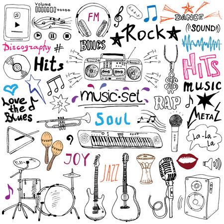 Musik Artikel doodle Symbole gesetzt. Hand gezeichnete Skizze mit Noten, Instrumente, Mikrofon, Gitarre, Kopfhörer, Schlagzeug, Musik-Player und Musikstile letterig Zeichen, Vektor-Illustration, isoliert