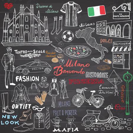 milánó: Milánó Olaszország felvázolni elemeket. Kézzel készített szett Dóm, zászló, térkép, cipő, divatcikkek, pizza, bevásárló utca, a közlekedés és a hagyományos ételeket. Rajz doodle gyűjtés táblán. Illusztráció