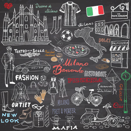 Milan Italy sketch elements. Hand drawn set with Duomo cathedral, flag, map, shoe, fashion items, pizza, shopping street, transport and traditional food. Drawing doodle collection, on chalkboard. Ilustração