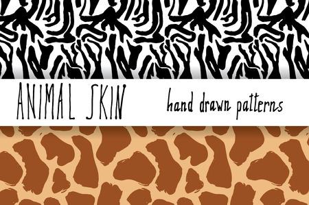 giraffe skin: Animal skin hand drawn texture, Vector seamless pattern set, sketch drawing zeebra and giraffe skin textures.