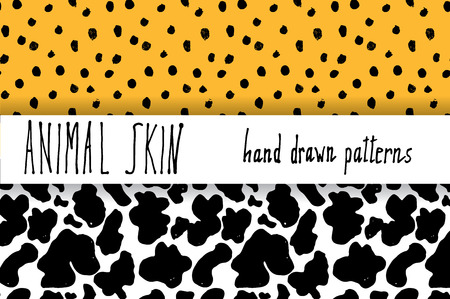 cow skin: Animal skin hand drawn texture, Vector seamless pattern set, sketch drawing leapard dots and cow skin textures.