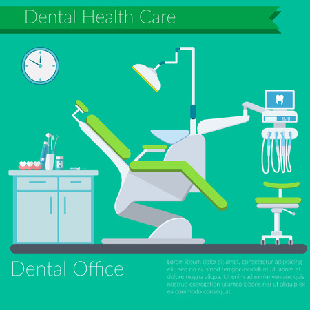 chear: Dentist office flat design Vector illustration with Dental care items, teeth, tooth paste, brush, dentist chear on color background Illustration