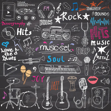 Music items doodle icons set. Hand drawn sketch with notes, instruments, microphone, guitar, headphone, drums, music player and music styles lettering signs, vector illustration, chalkboard background Vectores