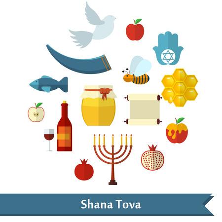 paloma caricatura: Rosh Hashaná, Shana Tova o vectores iconos planos del Año Nuevo judío establecen, con miel, manzana, pescado, abeja, botella, la Torá y otros artículos tradicionales en forma redonda.