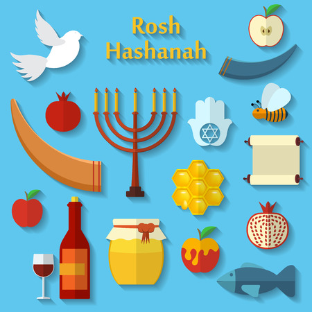 Rosh Hashanah, Shana Tova or Jewish New year flat vector icons set, with honey, apple, fish, bee, bottle, torah and other traditional items.  イラスト・ベクター素材