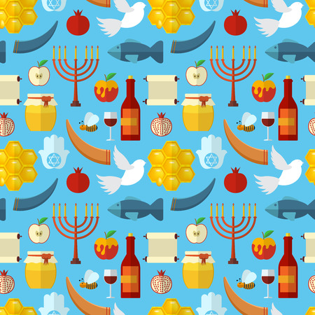 apple and honey: Rosh Hashanah, Shana Tova or Jewish New year seamless pattern, with honey, apple, fish, bee, bottle, torah and other traditional items Illustration