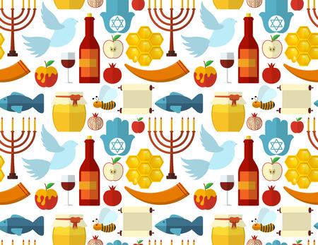 paloma caricatura: Rosh Hashaná, Shana Tova o patrón transparente judía del Año Nuevo, con miel, manzana, pescado, abeja, botella, la Torá y otros artículos tradicionales