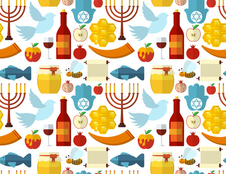 rosh: Rosh Hashanah, Shana Tova or Jewish New year seamless pattern, with honey, apple, fish, bee, bottle, torah and other traditional items Illustration