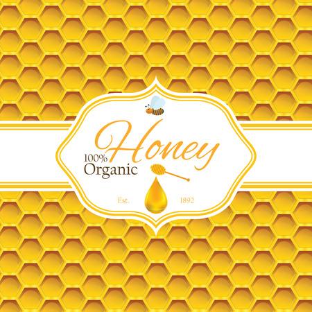 peineta: Plantilla de la etiqueta de la miel para los productos logotipo de la miel con la abeja y la gota de miel en panal colorido fondo