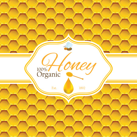 Honey label template for honey logo products with bee and drop of honey on Honeycomb colorfull pattern background