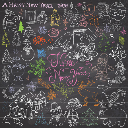 Hand drawn Sketch design of happy new year 2016 Doodles with Lettering set, with christmas trees snowflakes, snowman, elfs, deer, santa claus and festive elements,  Vector Illustration on chalkboard