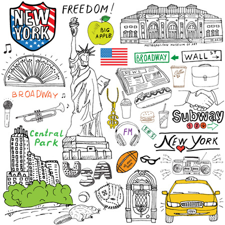 New York Stadt Kritzeleien Elemente. Mit, Taxi, Kaffee, Würstchen, Freiheitsstatue, broadway, Musik, Kaffee, Zeitungen, Museum, Central Park Hand gezeichnet gesetzt. Zeichnung doodle Sammlung, isoliert auf weiß. Vektorgrafik