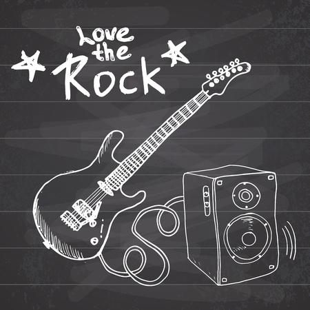 guitarra acustica: M�sica rock Dibujado a mano la guitarra boceto con caja de resonancia y el amor de texto la roca, ilustraci�n vectorial en la pizarra.