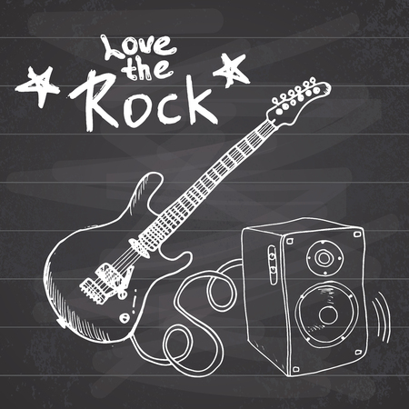 sound box: Rock Music Hand drawn sketch guitar with sound box and text love the rock, vector illustration on chalkboard. Illustration