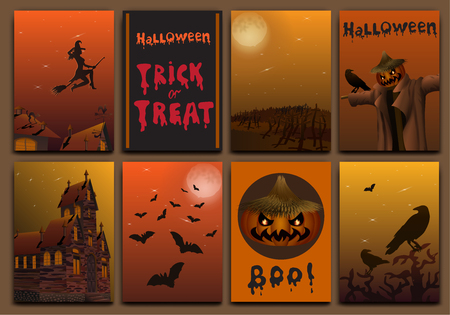 horror house: Halloween cards baners design vector set with pumpkin, witch, bats, scarecrow and haunted house. Illustration