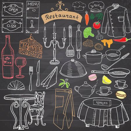 knife and fork: Restaurant sketch doodles set. Hand drawn elements food and drink, knife, fork, menu, chef uniform, wine bottle, waiter apron Drawing doodle collection, on chalkboard.