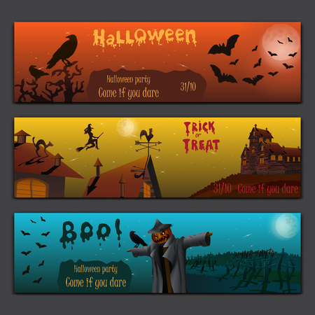 haunted tree: Halloween cards baners design vector set with pumpkin, witch, bats, scarecrow and haunted house. Illustration