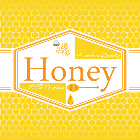 honey: Honey label template for honey logo products with bee and drop of honey on Honeycomb colorfull pattern background