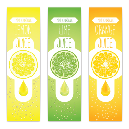 Lemon, lime and orange fresh juice label template for citrus fruit products. Three banners with fruit slices, juice drops and bubbles.