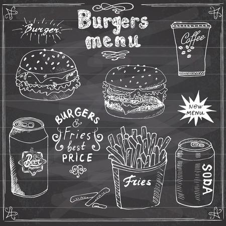 gaseosas: Hamburguesa Menú dibujados a mano dibujo. Cartel con la comida rápida hamburguesa, hamburguesa con queso, patatas paja, lata de refresco, una taza de café y la lata de cerveza. Ilustración del vector con las letras, en la pizarra.