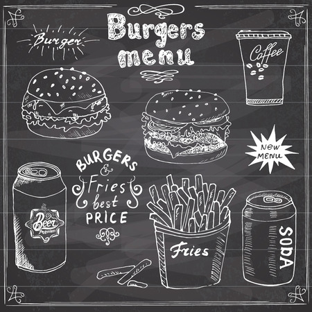 Burger Menu hand drawn sketch. Fastfood Poster with hamburger, cheeseburger, potato sticks, soda can, coffee mug and beer can. Vector illustration with lettering, on Chalkboard. Illustration