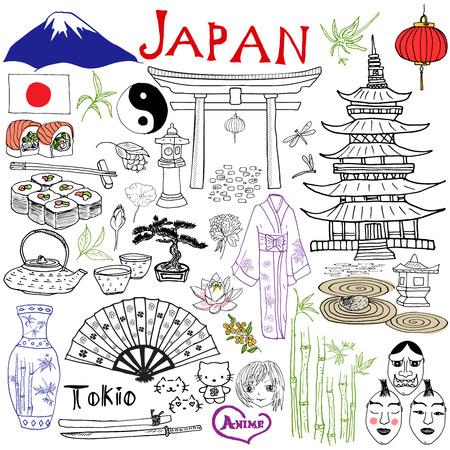 Japón doodles elementos. Conjunto drenado mano con la montaña Fujiyama, puerta sintoísta, sushi comida japonesa y juego de té, ventilador, máscaras del teatro, katana, pagoda, kimono. Dibujo colección garabato, aislado en blanco