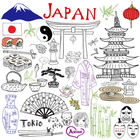 japones bambu: Japón doodles elementos. Conjunto drenado mano con la montaña Fujiyama, puerta sintoísta, sushi comida japonesa y juego de té, ventilador, máscaras del teatro, katana, pagoda, kimono. Dibujo colección garabato, aislado en blanco Vectores