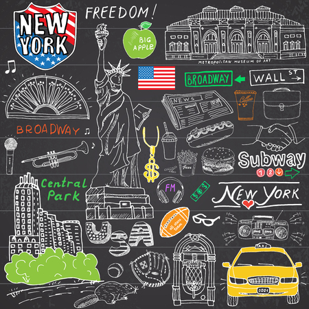 manhattan skyline: New York city doodles elements. Hand drawn set with, taxi, coffee, hotdog, statue of liberty, broadway, music, coffee, newspaper, museum, central park. Drawing doodle collection, on chalkboard.