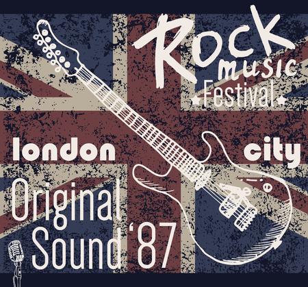 Diseño de la camiseta de impresión, gráficos tipografía, Londres rock festival de ilustración vectorial con la bandera del grunge y dibujado a mano de guitarra boceto Applique de la divisa Label. Foto de archivo - 46671837