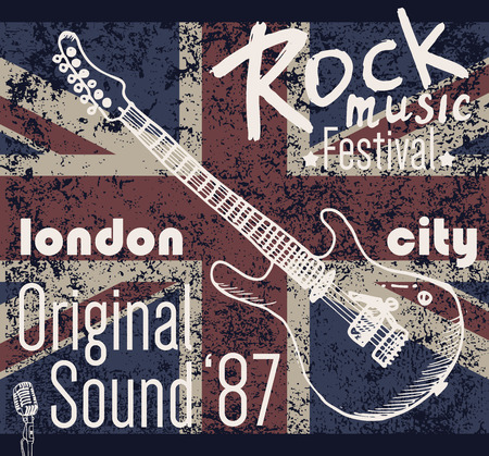 retro music: T-shirt Printing design, typography graphics, London Rock festival vector illustration with  grunge flag and hand drawn sketch guitar Badge Applique Label.