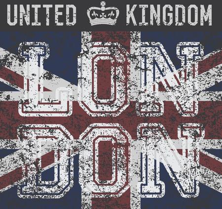 T-shirt Printing design, typography graphics, London United kingdom, grunge flag vector illustration Badge Applique Label. Ilustração