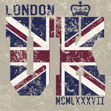 T-shirt Printing design, typography graphics, London United kingdom, grunge flag vector illustration Badge Applique Label. Ilustracja