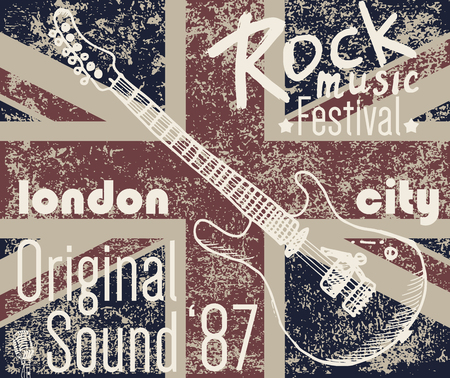 T-shirt Printing design, typography graphics, London Rock festival vector illustration with  grunge flag and hand drawn sketch guitar Badge Applique Label.