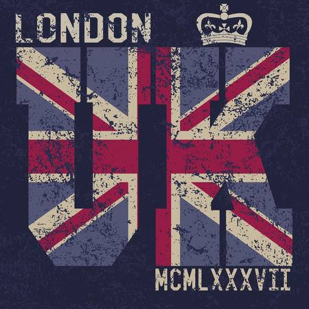 T-shirt de diseño de impresión, gráficos tipografía, Londres Reino Unido, bandera del grunge ilustración vectorial Applique de la divisa Label. Foto de archivo - 46671881
