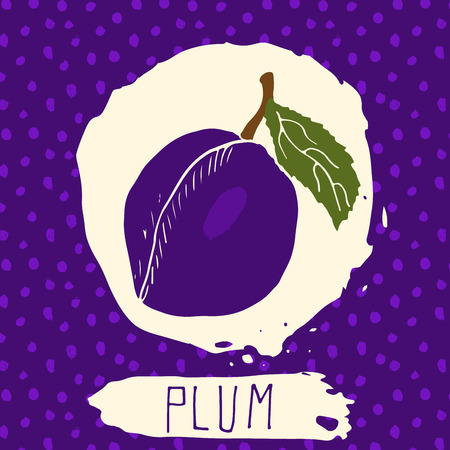brand identity: Plum hand drawn sketched fruit with leaf on background with dots pattern. Doodle vector plum for , label, brand identity.