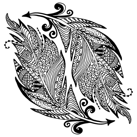 Ornamental hand drawn sketch of feathers in  style. vector illustration with ornament, isolated.