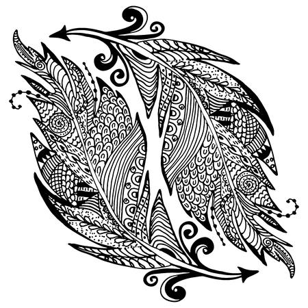 Main dessiné croquis ornement de plumes dans le style. illustration vectorielle avec l'ornement, isolé. Banque d'images - 47674396