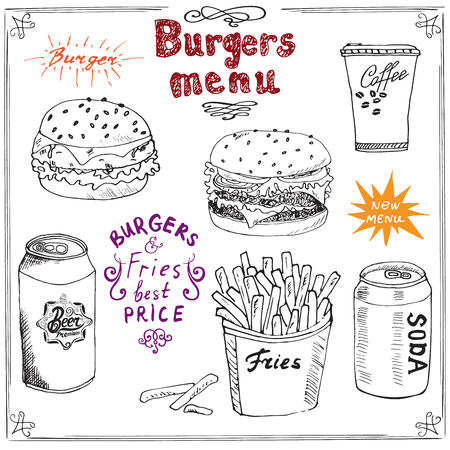 soda can: Burger Menu hand drawn sketch. Fastfood Poster with hamburger, cheeseburger, potato sticks, soda can, coffee mug and beer can. Vector illustration with lettering, isolated.