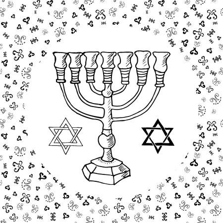 menora: Hand drawn sketch of menorah traditional Jewish symbols, Rosh Hashanah, Hanukkah, Shana Tova, vector illustration on ornamental pattern.
