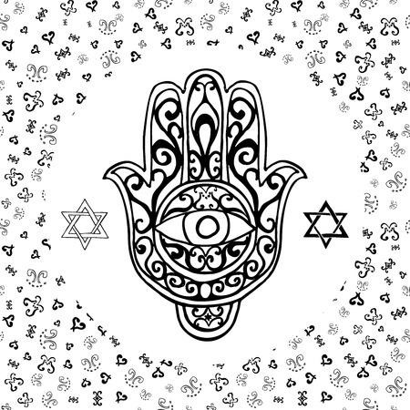 shana: Hand drawn sketch of traditional Jewish religious symbols, hand of Miriam, palm of David, star of David, Rosh Hashanah, Hanukkah, Shana Tova, vector illustration on ornamental pattern. Illustration