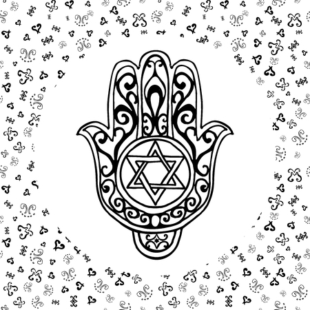 zion: Hand drawn sketch of traditional Jewish religious symbols, hand of Miriam, palm of David, star of David, Rosh Hashanah, Hanukkah, Shana Tova, vector illustration on ornamental pattern. Illustration